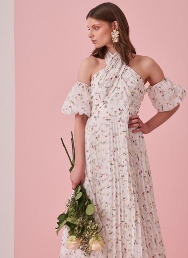 morhipo x dcey Çiçek Desenli Piliseli Elbise Beyaz
